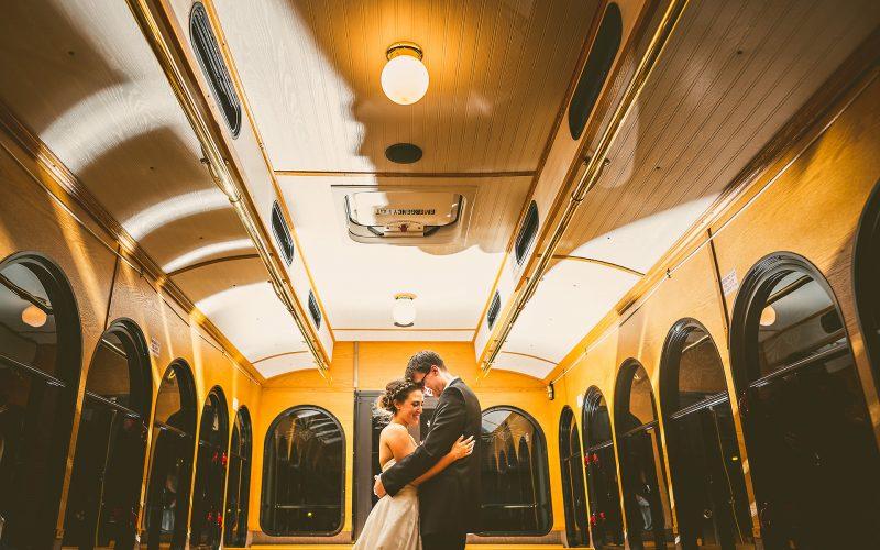 Backlit wedding portrait in trolley