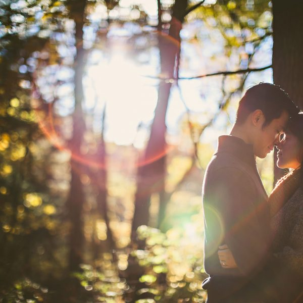Sun flare in engagement photo