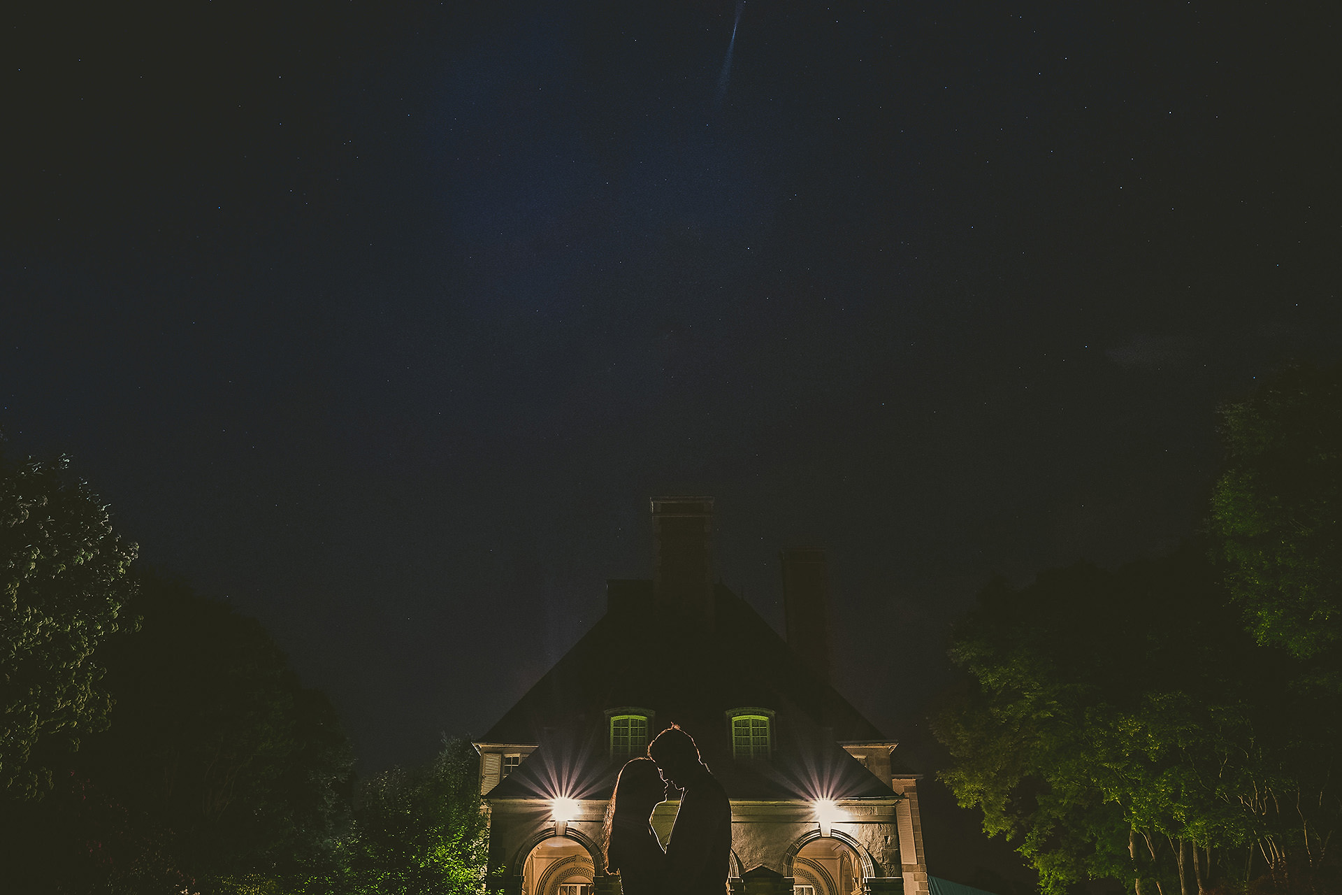 Rhode Island wedding photos at night